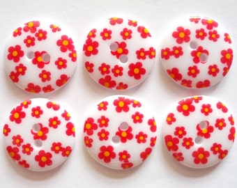 15pcs Cute flower Printed Retro Button Size 23 mm White  (red flower )