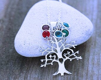 Sterling silver tree necklace. Family Birthstone Necklace. Four Birds on a Tree.  Silver Tree of life. Custom charms. Unique, Tree pendant