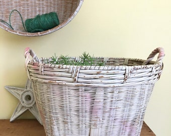 Whitewashed Woven Basket, Wicker Basket, Storage Basket, Beach House