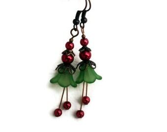 Christmas Earrings, Holiday Earrings, Lucite Flower Earrings, Vintage Christmas Earrings, Green Red Earrings, Coworker Gift,  Teacher Gift