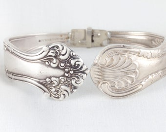 Antique hinged silver spoon bracelet