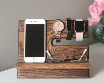 Father's Day gift Personalized Oak Nightstand Valet | Wooden Phone Stand | Phone Charging Dock | Wood Docking Station |