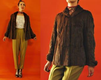 1940s / 1950s Brown Short Mink Fur Jacket / Coat