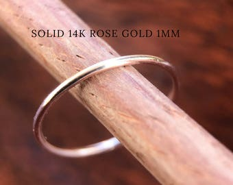 Rose Gold Wedding Band 1mm SOLID 14k Simple Plain Round Skinny Thin Spacer Mothers Day Gift Minimalist Slim Stacking Spacer Engagement