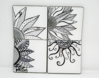 Porcelain Tile Coasters | Drink Coasters | Table Coasters | Hand-drawn Coasters | Porcelain Drink Coasters