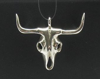PE000390 Sterling silver pendant   925 solid skull cow biker
