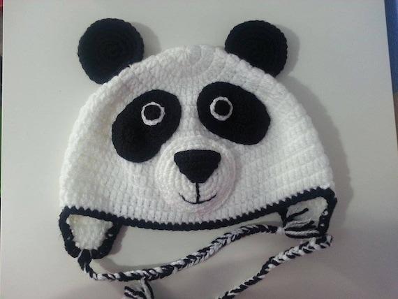 Amigurumi Oso Panda Patron : Artículos similares a gorro crochet oso panda de lana en etsy