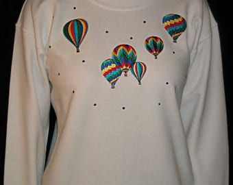 Embroidered Hot Air Balloon Sweatshirt Unique Custom Women's Cute Fun Glitter Cool  Bling T shirt Cindy's Handmade Shirts Boutique
