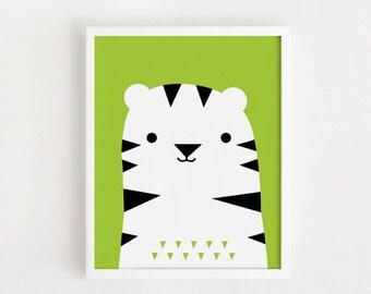 Cute Tiger Poster kawaii bebe Printable art Kids room wall art Print Animal illustration for Baby boys nursery art children poster INSTANT