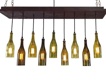 Wine bottle light 7 recycled wine bottles rustic modern light fixture modern lighting dining room lighting kitchen lighting ceiling light aloadofball Gallery