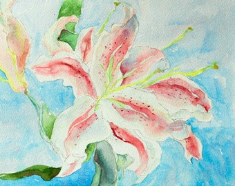 """Watercolor flower print, from my original watercolor painting, digital print , printed on high quality Epson paper  9"""" x 12"""" Blooming Lilies"""