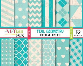 Teal Geometry Digital Paper Pack, Geometric Digital Paper, Scrapbooking, Invitations, Graphics