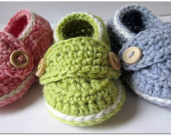 Baby Booties, Crib Shoes, Wool Little Button Loafers // You Choose Size and Colors