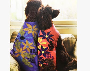 Floral Dog Jacket - All Sizes, Knitting Pattern