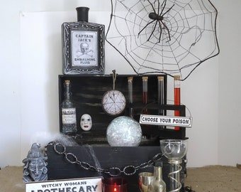 apothecary display, witches kitchen, Gothic Halloween, haunted house decor, witch decor