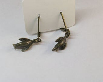 Bronze penguin charm earrings