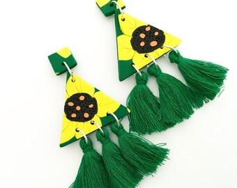 Sunflower Statement Triangle Green Tassel Earrings