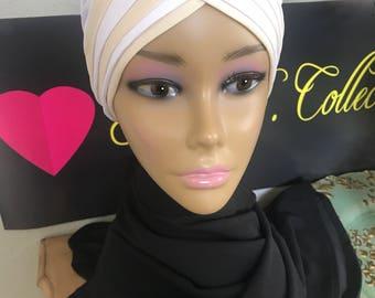 White & cream wrap head cap turban Hijab beanie chemo hat
