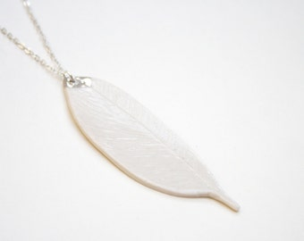 Ceramic Porcelain Feather Pendant Necklace with a spot of platina Pastel Jewelry