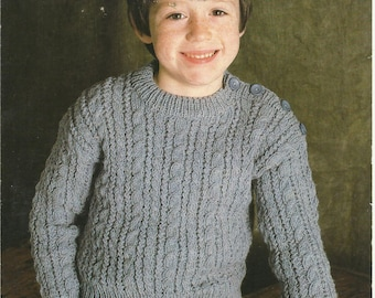 """PDF Patons Knitting Pattern #1777 Knit 'n Save, Cable Sweater, 8Ply, Sz 22 - 30"""""""