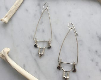 fox and fawn, triangle earrings, sterling silver jewelry, tooth jewelry
