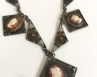 Antique Edwardian Cameo Necklace Sterling Silver Filigree Bib Style Necklace Italian