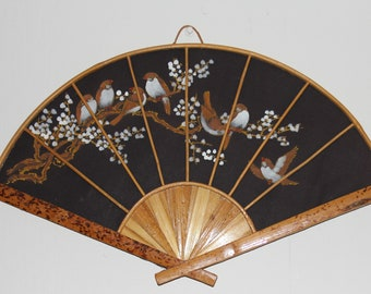Vintage Japanese Hand painted Wall Fan/Fabric and Bamboo/  17 inches span