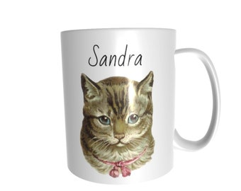 cat vintage style personalised with a name of your choice gift ceramic cup