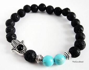 Turquoise Lava Bracelet, Lava Rock Bracelet, Womens Bracelet, Mens Bracelet, Hamsa Hand Bracelet, Gemstone Bracelet, Yoga Mala Bracelet
