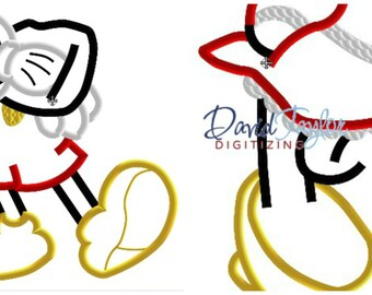 Headless Mickey/Minnie - 2 designs! - 4x4, 5x7 and 6x10 in 9 formats - Applique - Instant Download - David Taylor Digitizing
