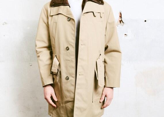 BROOK TAVERNER Men's Mac Coat, Trench Coat, Over Coat, Winder Mac Coat, Winter coat, Beige Winter Coat, Detective Style Coat Size 40 R