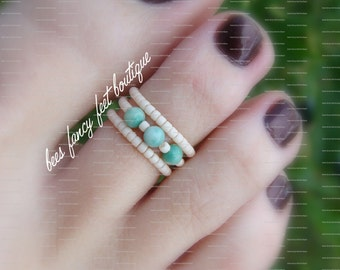 Stacking Toe Ring, Stacking Rings, Natural Jasper Stone Pearls, Pearl Beads, Frosted Apricot Beads, Toe Ring, Ring, Stretch Bead Toe Ring