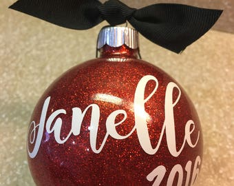 Personalized Glitter Name Ornaments