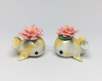 Koi Fish Whaley - Decoration, Figurine, Gift, Water Lily, Lotus