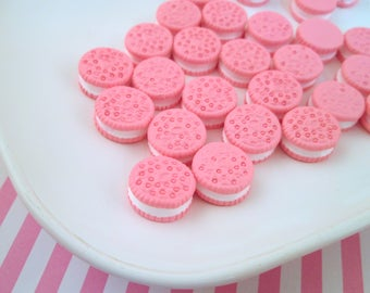 "Hot Pink ""Oreo"" Cookie Kawaii Cabochons Decoden Sweets Miniature Cookies,  #131"