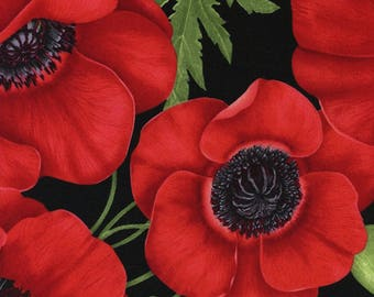 Fabric Poppies all over  Quilt Fabric Yardage - Cotton Fabric - Timeless Treasures