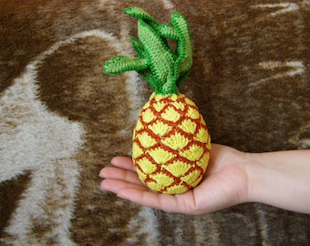 Crochet Vegetables Pineapple Toy Amigurumi Pineapple Sensory Toys Play Food Kitchen Decoration Eco-friendly Toys  Birthday Gifts Fruits