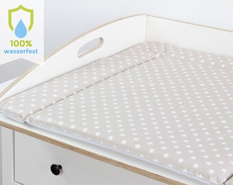 Changing pad 77 x 73 cm changing mat for 80 cm Ikea chest of drawers free from pollutants and washable stars white beige