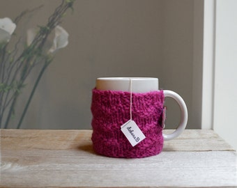 Coffee Cozy, Hand Knit Cozy, Wool Coffee Sleeve, Cup Cozy, Reusable Coffee Mug Sleeve, Gift Under 15, Bright Pink, Magenta, Mothers Day Gift
