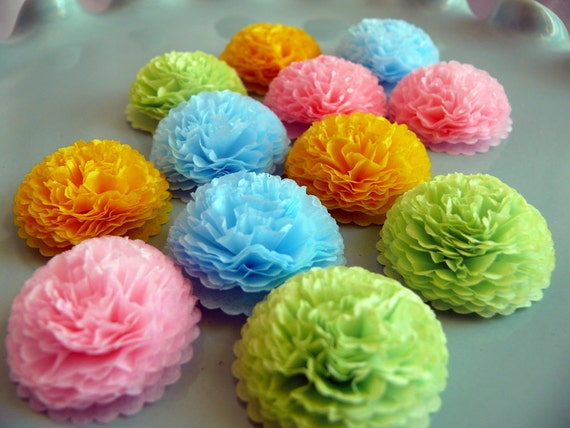 Button mums tissue paper flowers pastel spring decorations mightylinksfo