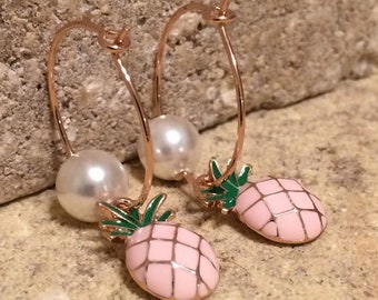 Hoop Earrings | 14K Rose Plated | Crystal Pearl | Enamel