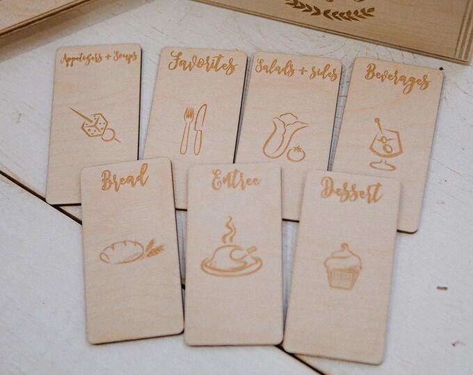 9 - CUSTOM engraved wood recipe card dividers