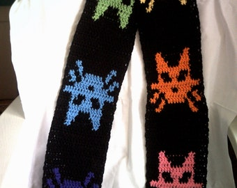 Neon Rainbow Kitty Scarf- Made to Order