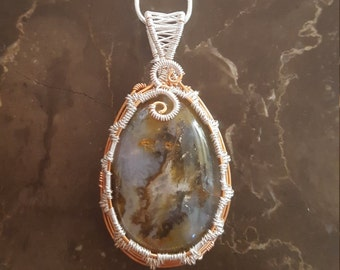 wire wrapped pendant plus necklace