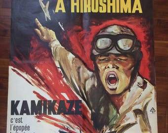 Great old movie poster 'pearl harbour in Hiroshima' kamikaze 1961