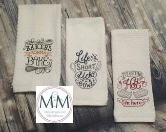 Embroidered Kitchen Towels Cute Sayings - Set of 3