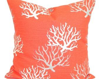 BEACH DECOR, Nautical Pillow Cover, Decorative Pillow, Throw Pillow, Coral Pillows, Accent Pillow, Pillow Covers, All Sizes, Euro, Cushion