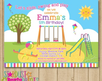 Playground invitation playground party park birthday playground birthday invitation playground invitation playground birhtday park birthday park invitation filmwisefo Gallery