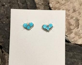 Turquoise Heart post earrings