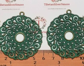 2 pcs per pack 48mm Filigree Flower with 10mm center filler Pendant Patina Antique Bronze Finish Lead Free Pewter.